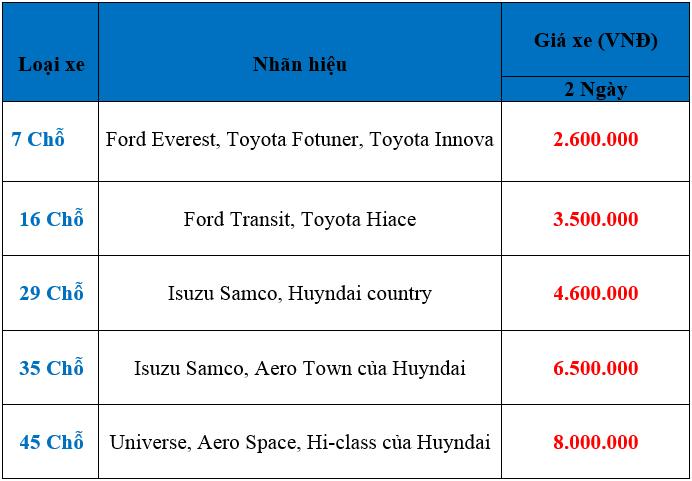 Bảng giá dịch vụ cho thuê xe đi Mộc Châu của Vân Hải