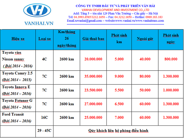 Bảng giá thuê xe theo tháng của công ty Vân Hải