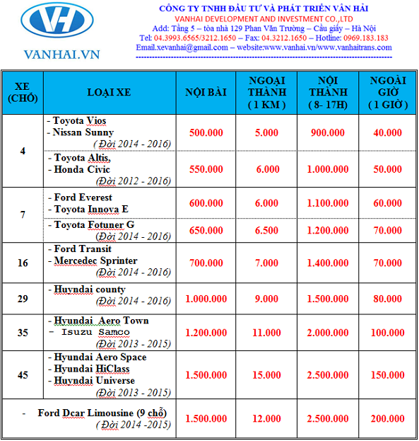Bảng giá cho thuê xe của công ty cho thuê xe Vân Hải