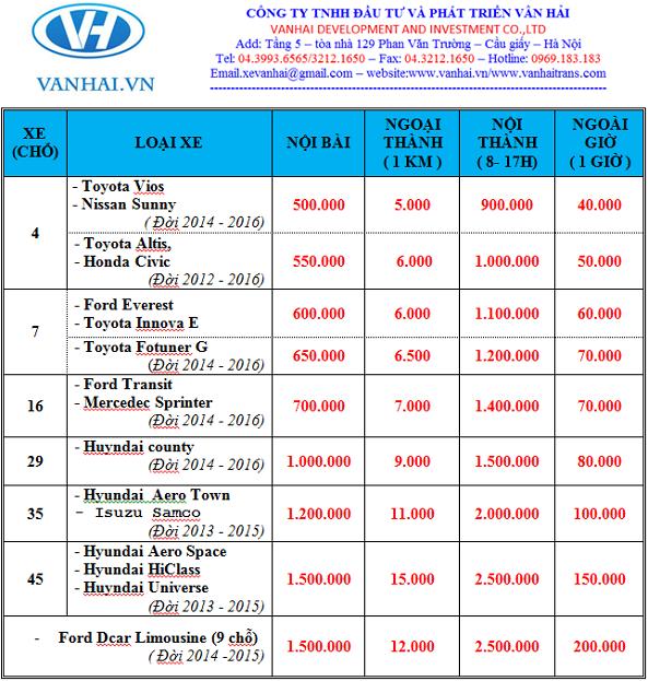 Bảng giá thuê xe du lịch của công ty Vân Hải
