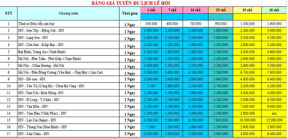 Bảng giá cho thuê xe du lịch lễ hội của Vân Hải