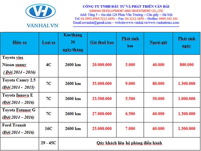 Bảng giá cho thuê xe tháng giá rẻ tại công ty Vân Hải