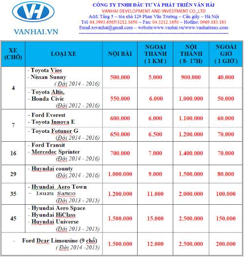 Bảng giá cho thuê xe du lịch của Vân Hải