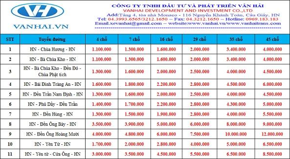 Bảng giá cho thuê xe đi lễ hội của Vân Hải