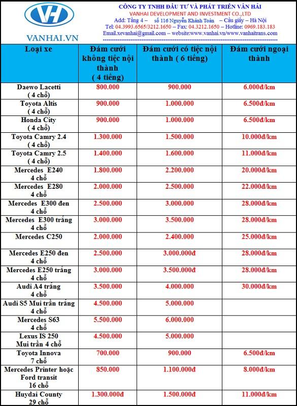 Bảng giá cho thuê xe cưới giá rẻ tại Hà Nội của công ty Vân Hải