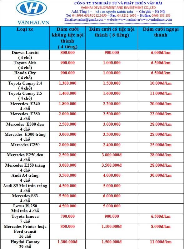 Bảng giá cho thuê xe cưới hỏi giá rẻ nhất của Vân Hải