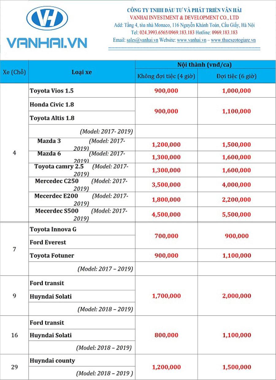 Bảng giá cho thuê xe cưới hỏi của công ty Vân Hải