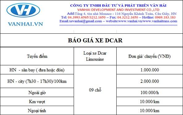 Bảng giá cho thuê xe dcar limousine 9 chỗ của Vân Hải