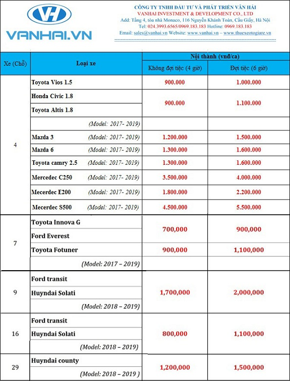 Bảng giá cho thuê xe cưới giá rẻ nhất của Vân Hải