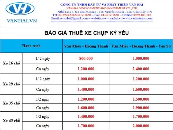 Bảng giá cho thuê xe đi chụp ảnh kỷ yếu của Vân Hải
