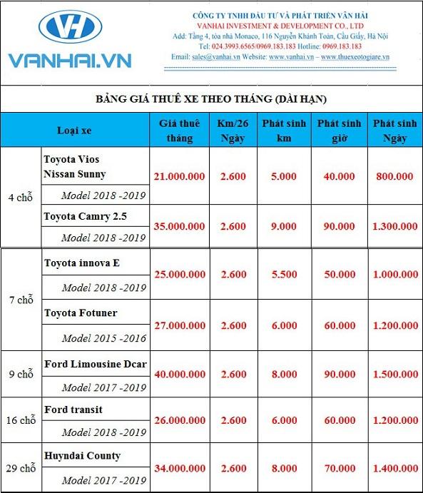 Bảng giá cho thuê xe theo tháng giá rẻ của công ty Vân Hải