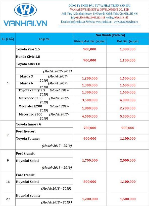 Bảng giá cho thuê xe cưới giá rẻ của Vân Hải