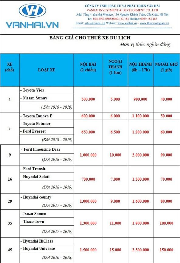 Bảng giá cho thuê xe du lịch của công ty Vân Hải